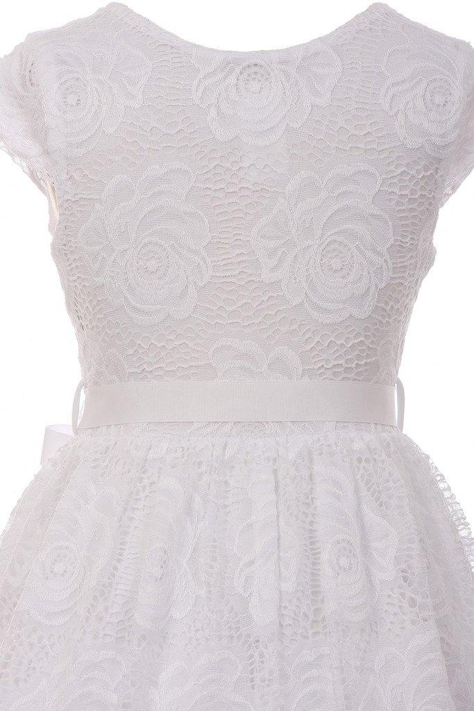 Flower Girl Dress Curly V-Neck White Embroidery AllOver for Little Girl White 8 JKS.2066 by BNY Corner (Image #4)