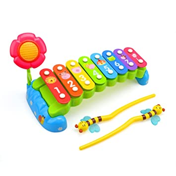 Rainbow Garden Musical Hand Percussion Instrument Toy 8 Note Xylophone For  Kids With Flower By
