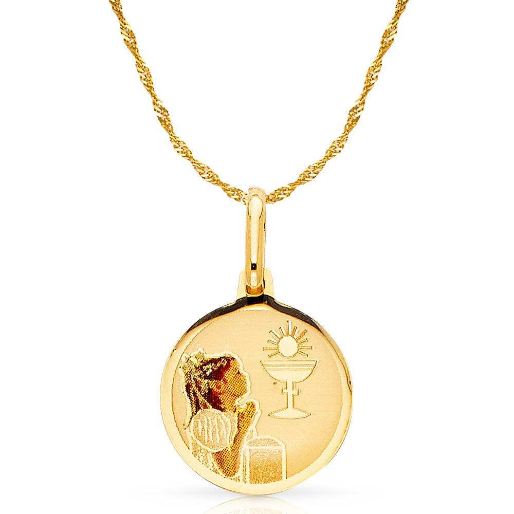 14K Yellow Gold Baptism Enamel Picture Girl Charm Pendant with 1.2mm Singapore Chain Necklace