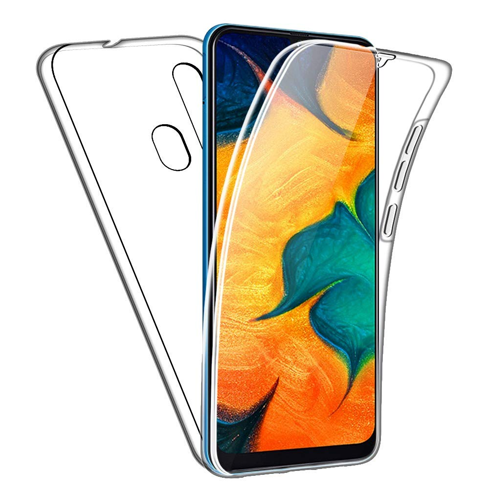 SDTEK Case for Samsung Galaxy A30 Full Body Front and Back Protection 360 Cover Clear Transparent Soft