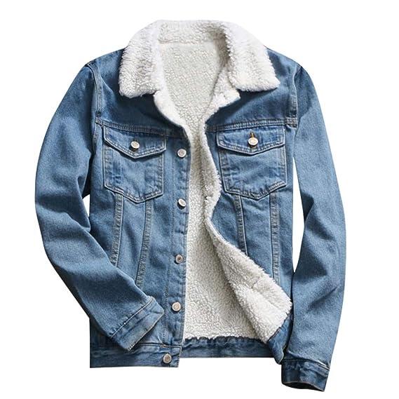 tohole Damen Jeansjacke Vintage Lange Ärmel Gepolsterte Lose Jeansjacke warme Mantel Wintermantel Künstliche Baumwolle Jacke Fleece Innenseite