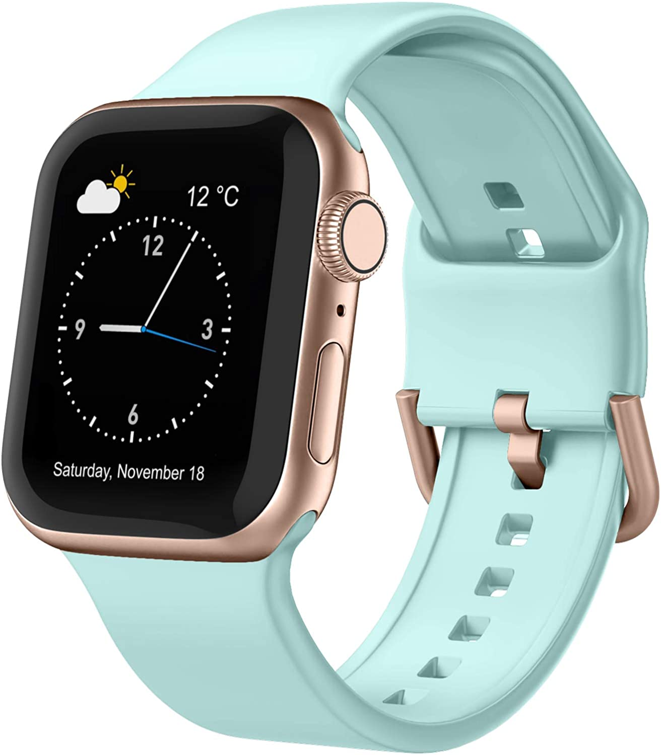 Adepoy Compatible with Apple Watch Bands 44mm 42mm 40mm 38mm, Soft Silicone Sport Wristbands Replacement Strap with Classic Clasp for iWatch Series SE 6 5 4 3 2 1 for Women Men, Mint Green 42/44mm