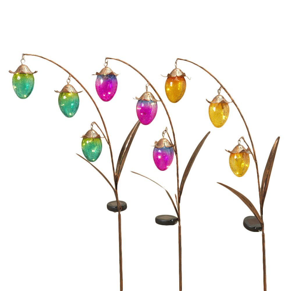 The Gerson Company Unique Light Up Solar Gold Metal Flowers Yard Art Colored Glass Buds Stakes Set