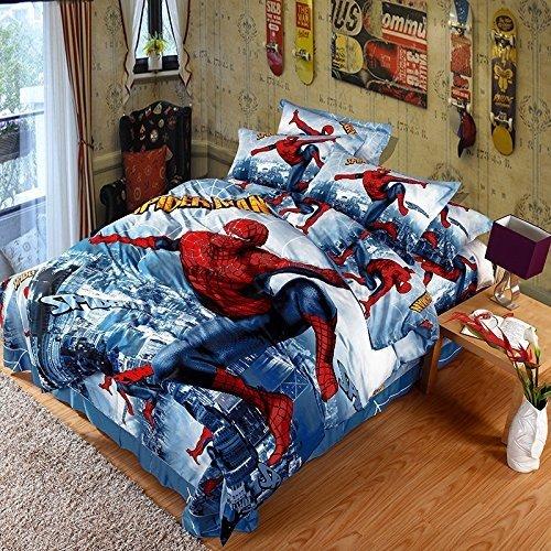 Spider-Man Kids cartoon Bedding set-Lotus Karen KIBS008(2017New Design) Captain America Bat-Man Transformers Iron Man 4-Piece Bed Sheet Set 100%Cotton 1Duvet Cover 1Flat Sheet 2Pillowshams