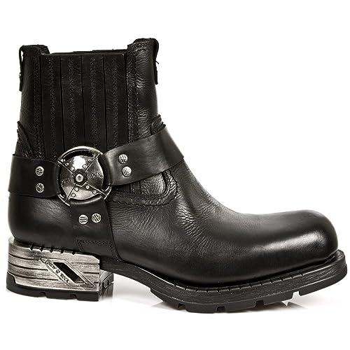 New Rock M.MR007-S1 Botas Botines Hombre Caballero Negro Cuero Piel Tacón Motorista Motero Heavy: Amazon.es: Zapatos y complementos