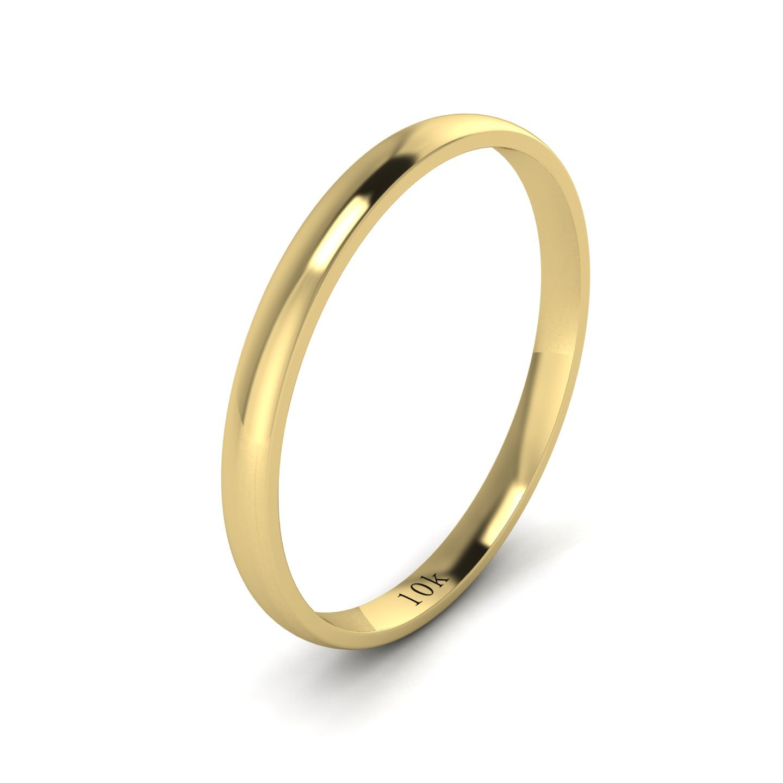 Unisex 10k Yellow Gold 2mm Light Court Shape Comfort Fit Polished Wedding Ring Plain Band (9)