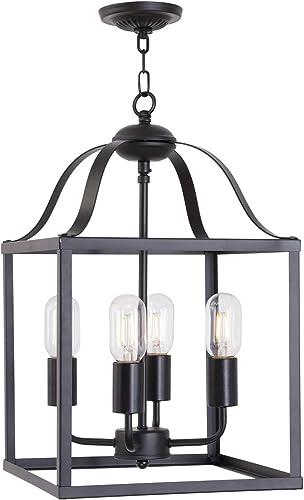 MELUCEE Lantern Chandelier 4 Lights Black Farmhouse Pendant Light