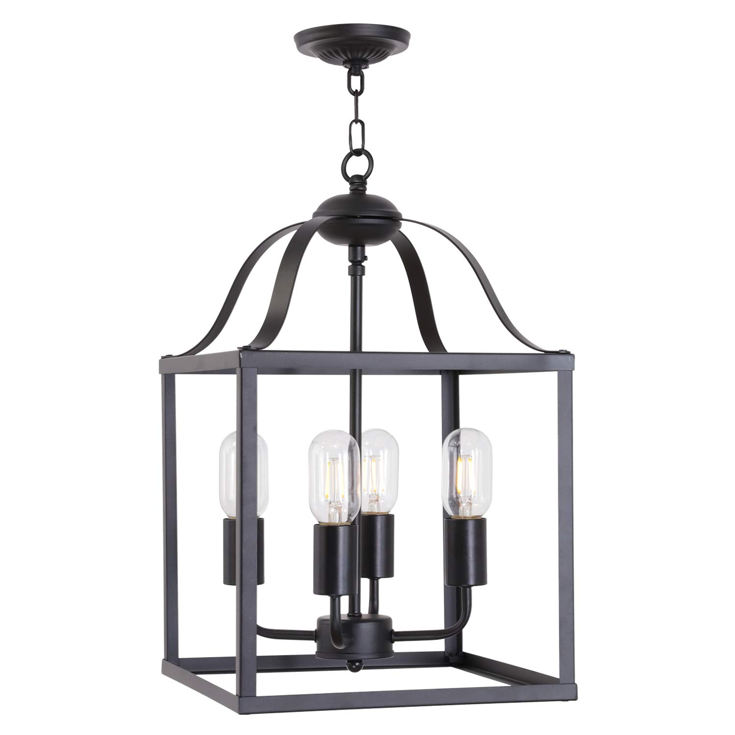 MELUCEE Lantern Chandelier 4 Lights Black Farmhouse Pendant Light, Industrial Vintage Dining Room Lighting Fixtures Hanging Kitchen Island Lighting Foyer Chandelier