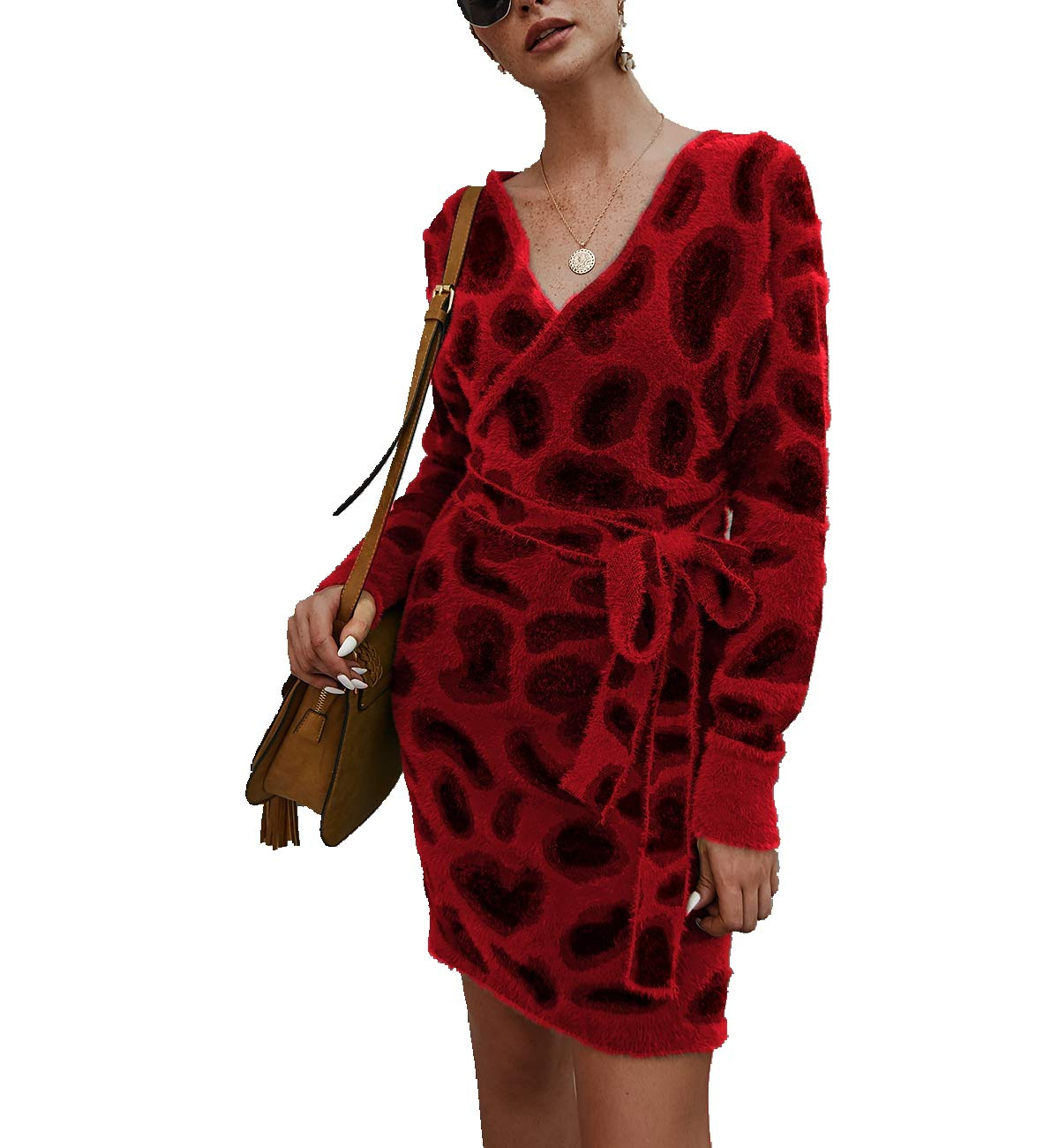 Women's Casual Knit Sweater Wrap Dress,Long Bat Wing Sleeve Leopard Print V Neck Backless Slim Fit Pencil Dresses with Belt Red by KINGLEN Womens Dress