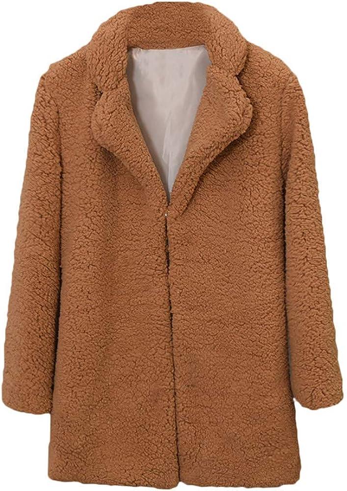 JESFFER Women Casual Solid Color Collar Autumn Winter Faux Fur Coat Outwear Blouse