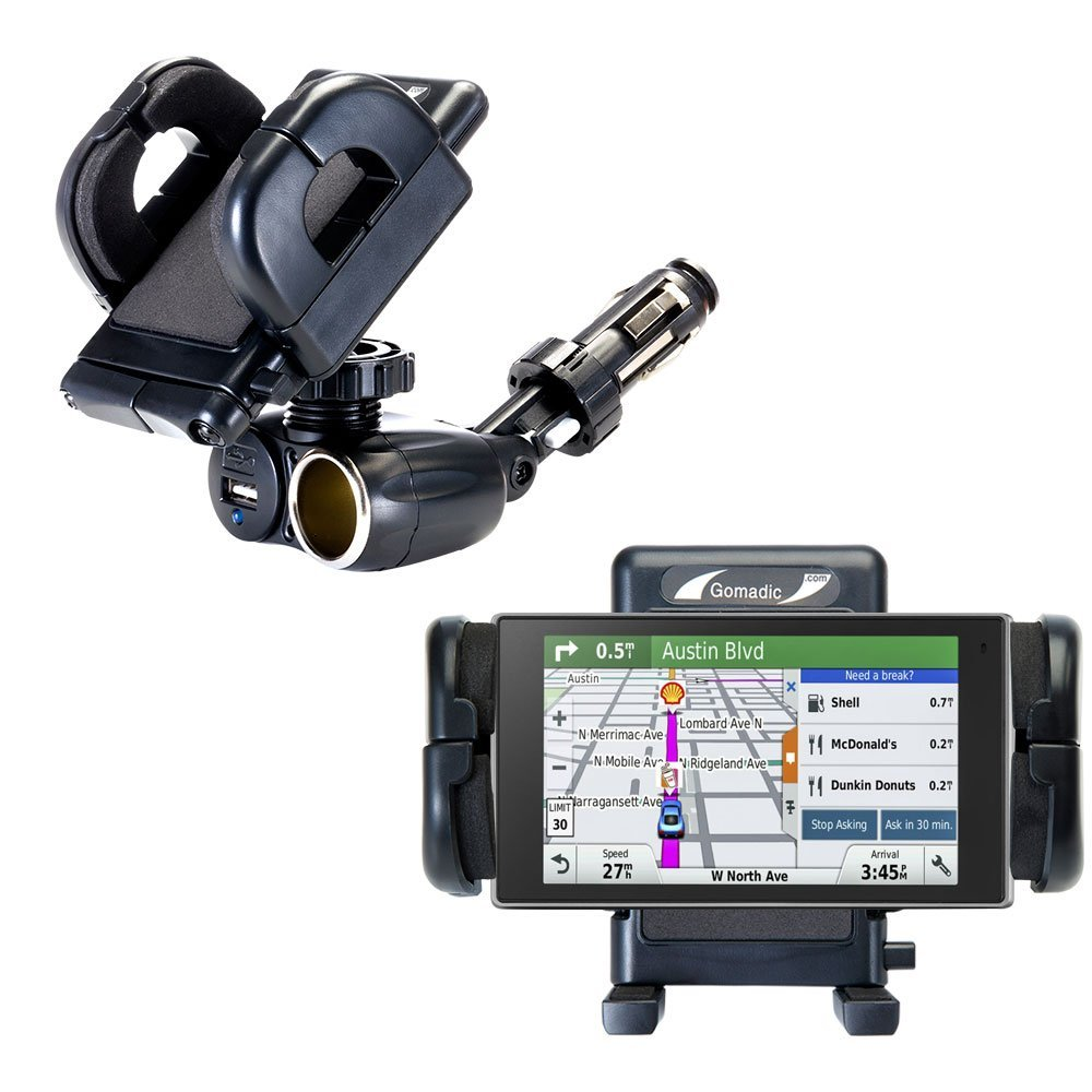 Unique Auto Cigarette Lighter and USB Charger Mounting System Includes Adjustable Holder for the Garmin DriveSmart 50LMTHD