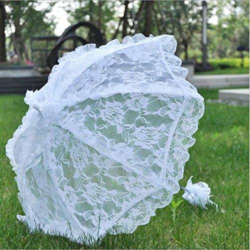 DMDRS White Hollow Lace Wedding Parasol Bridal Outdoor Decoration Props Umbrella