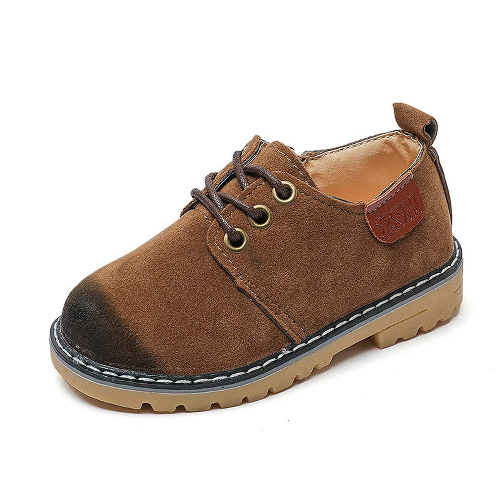 Kid's Suede Leather Oxford School Shoes Lace up Shoes Boy's Casual Martin Shoes