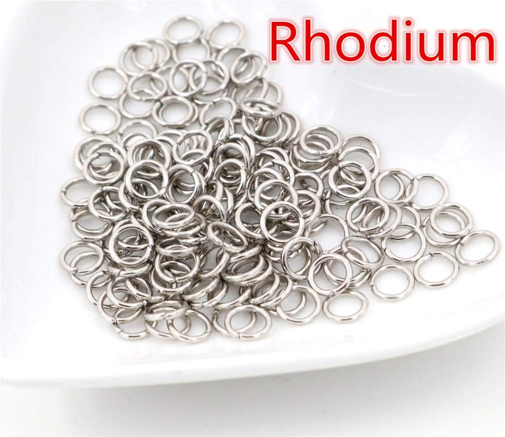 1000 Pcs 6Mm Rhodium Plated Open Jumprings Jump Ring Diy Metal Bracelet Necklace Jewelry Jewelry Components