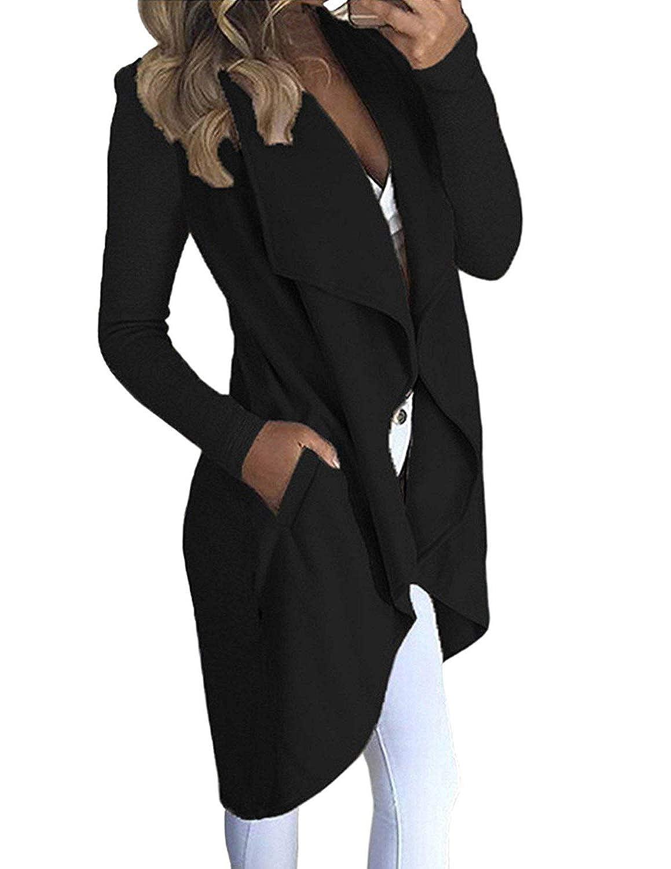 carinacoco Donna Cardigan Lunghi Risvolto Irregolare Cappotto Lungo Manica Lunga Giuntura Caldo Trench Coat Parka Oversize Outwear Autunno Inverno