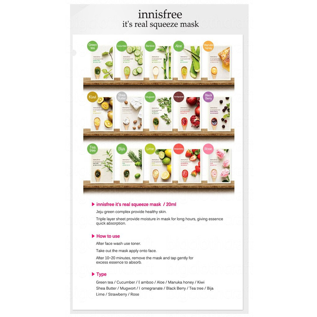 Innisfree Its Real Squeeze Mask Sheet Set 15ea Beauty Strawberry