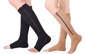 366115e1f31 2 Pairs Open Toe Knee Length Zipper Compression Socks 15-20 mmHg Support 3  Size