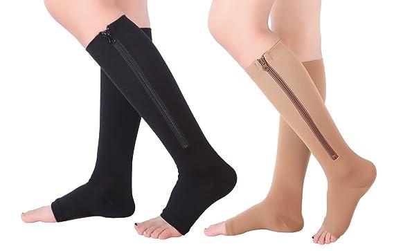 f296c3760c 2 Pairs Open Toe Knee Length Zipper Compression Socks 15-20 mmHg Support 3  SizeassortedXXL