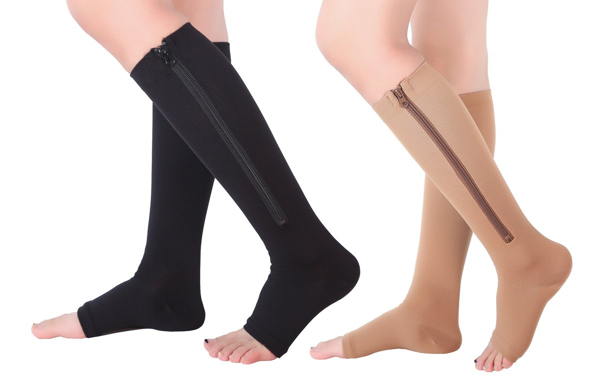 2 Pairs Open Toe Knee Length Zipper Compression Socks 15-20 mmHg Support 3 SizeassortedL/XL