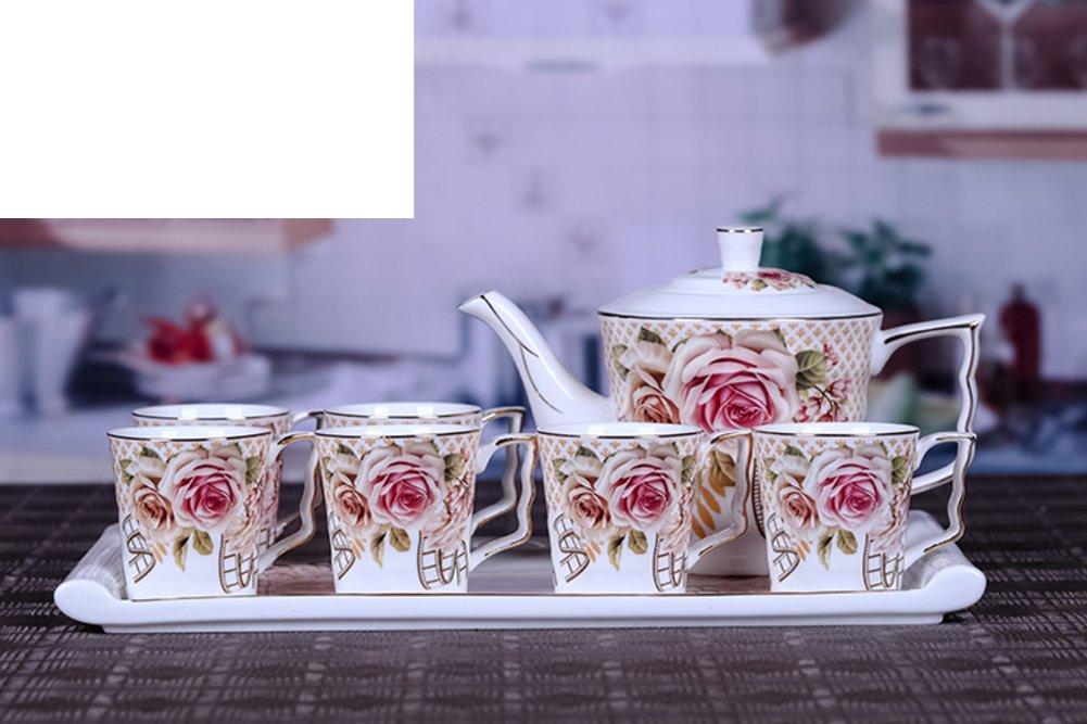 Teacup,Tea set Modern home tea Ceramic cup set Tray Wedding dowry cup-B