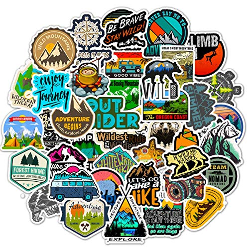 Wilderness Nature Stickers Outdoors Hiking Camping Travel Adventure Laptop Stickers Waterproof Skateboard Snowboard Car Bicycle Luggage Decal 50pcs Pack