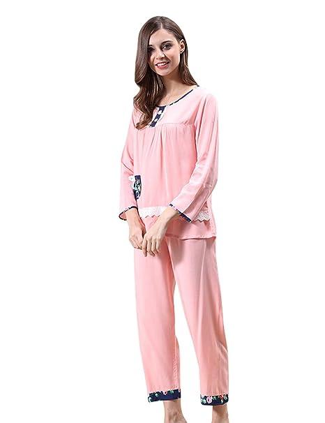 Menschwear Mujer Algodón Pijamas Serie Pijamas Cómodos (S,Rosa)