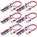 PCIE Riser 1X TO 16X Graphics Extension for GPU Mining Powered Riser Adapter Card w/ Molex 4Pin SATA 6Pin Power Supply PCIe with 60cm USB 3.0 Extension Cable- Ethereum Mining ETH- (6-Pack)ZIJIEZ