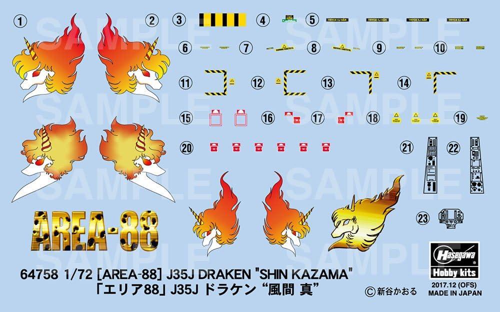 J35J Draken ShinKazama Plastic kit Hobby Multicoloured Hasegawa 064758 1//72 Area 88 Model Making Railway Accessories
