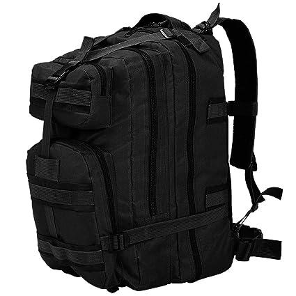 9c616a1d8d vidaXL Sac à Dos en Style Militaire 50 L Noir Sac de Randonnée Camping  Chasse