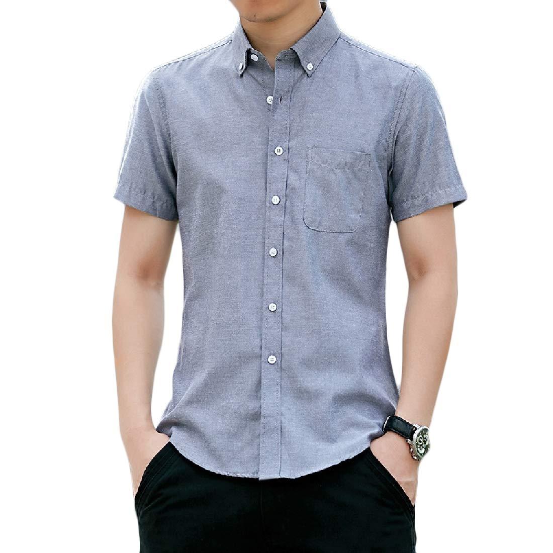 Joe Wenko Mens Casual Button-Down Cotton Short Sleeve Pocket Shirt