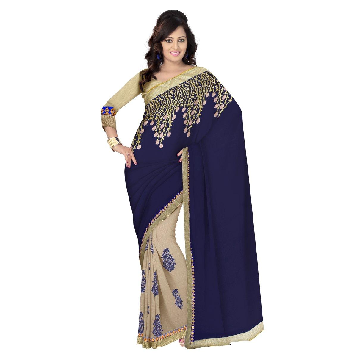 Triveni Damen Indisch Bollywood Beige Grenze Arbeitete Georgette Chiffon Saree TSN72007