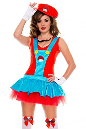 halloween adult costume cute red plumber dress costume cosplay party costume masquerade mini dress