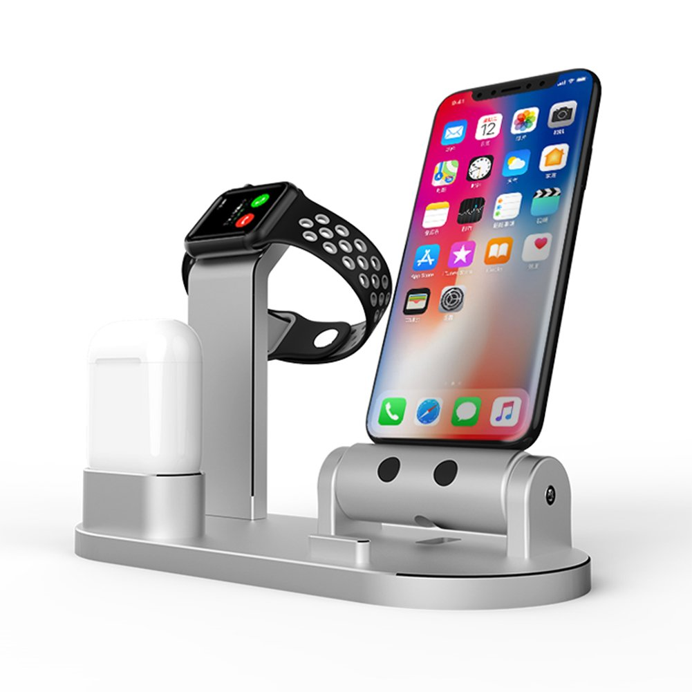 FACEVER 3 in 1 Aluminum Charge Dock Stand Holder Charging Station Compatible Apple Watch iWatch Series 4 3 2 1 Airpods iPhone X XS XS MAX 8 8 Plus 7 7 Plus iPad iPod, Silver