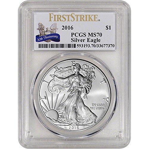 2016 American Silver Eagle (1 oz) First Strike 30th Anniversary Label $1 MS70 PCGS