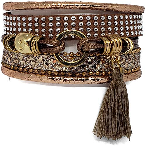 Boho Binxx Bohemian wrap Bracelet with Magnetic Clasp Closure for Woman (Khaki)
