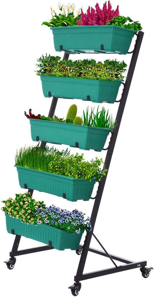 Vertical Raised Garden Bed , Vertical Garden Planter, 5 Tier Planter Box for Flower Vegetables Outdoor Indoor (XT)
