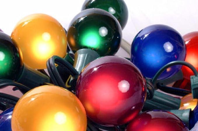 Set of 15 Multi Satin G50 Globe Christmas Lights - Green Wire - String  Lights - Amazon.com - Set Of 15 Multi Satin G50 Globe Christmas Lights - Green Wire