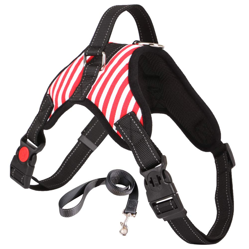 Dog Harness, Pet Dog Adjustable Car Mesh Harness Travel Strap Vest with Car Belt Lead Clip,The Harness is Professionally Designed for Dogs to Wear During Exercise,XL