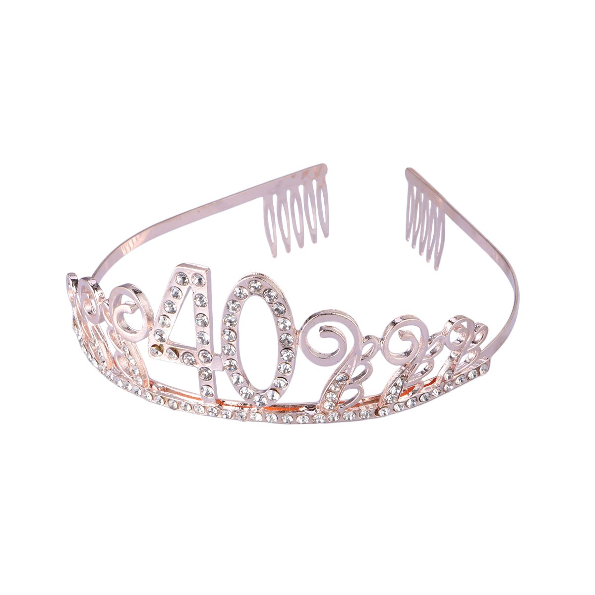 Frcolor 40th Birthday Tiara Crystal Rhinestone Women 40th Birthday Crown with Combs(Rose Gold)