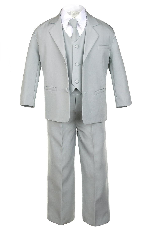 Amazon.com: Leadertux 5pc Boys Formal Wedding Light Gray Vest Necktie Sets Suits Outfit S-20 (S:(0-6 months)): Baby