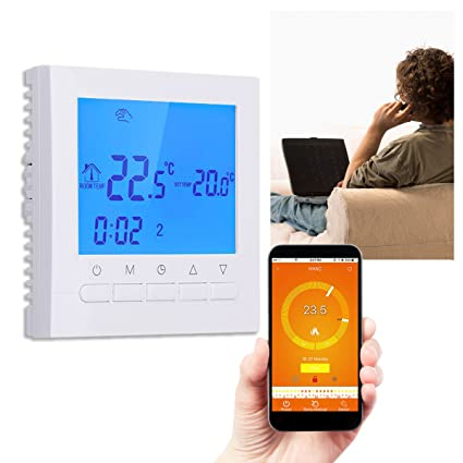 HITSAN WIFI LCD Wireless Smart Programmable Thermostat Underfloor Heating App Control One Piece