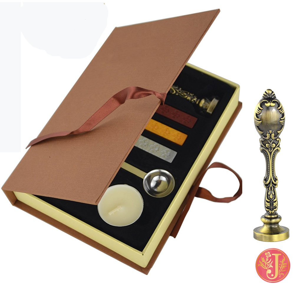 P VIVISKY TM Stamp Seal Sealing Wax Vintage Classical Old-fashioned Antique Alphabet Initial Letter Set Brass Color Creative Mysterious Stamp Maker Kit