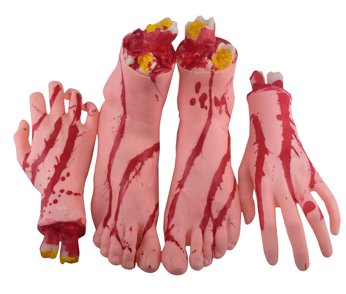 Las manos cortadas de Halloween Los pies se ajustan a las partes del cuerpo con estremecidas propiedades de Halloween Decoraciones de accesorios de Halloween, 1 par de 4 piezas (izquierda y derecha) (pies y manos) (A)