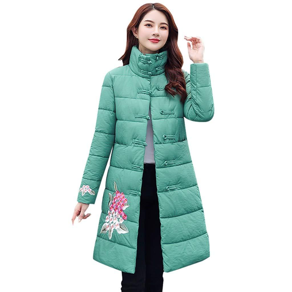 Fashionhe Women Winter Long Outwear Floral Embroidery Prink Windbreaker Coat Slim Jacket Overcoat (Green.XXL) by Fashionhe