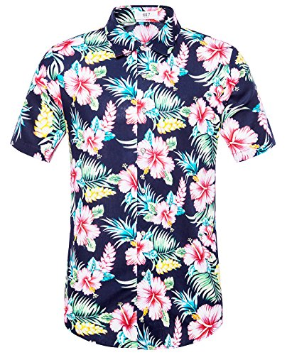 SIR7 Men's Hawaiian Flower Ptint Casual Button Down Short Sleeve Shirt Navy Blue - Blue Hawaiian Costume Dress