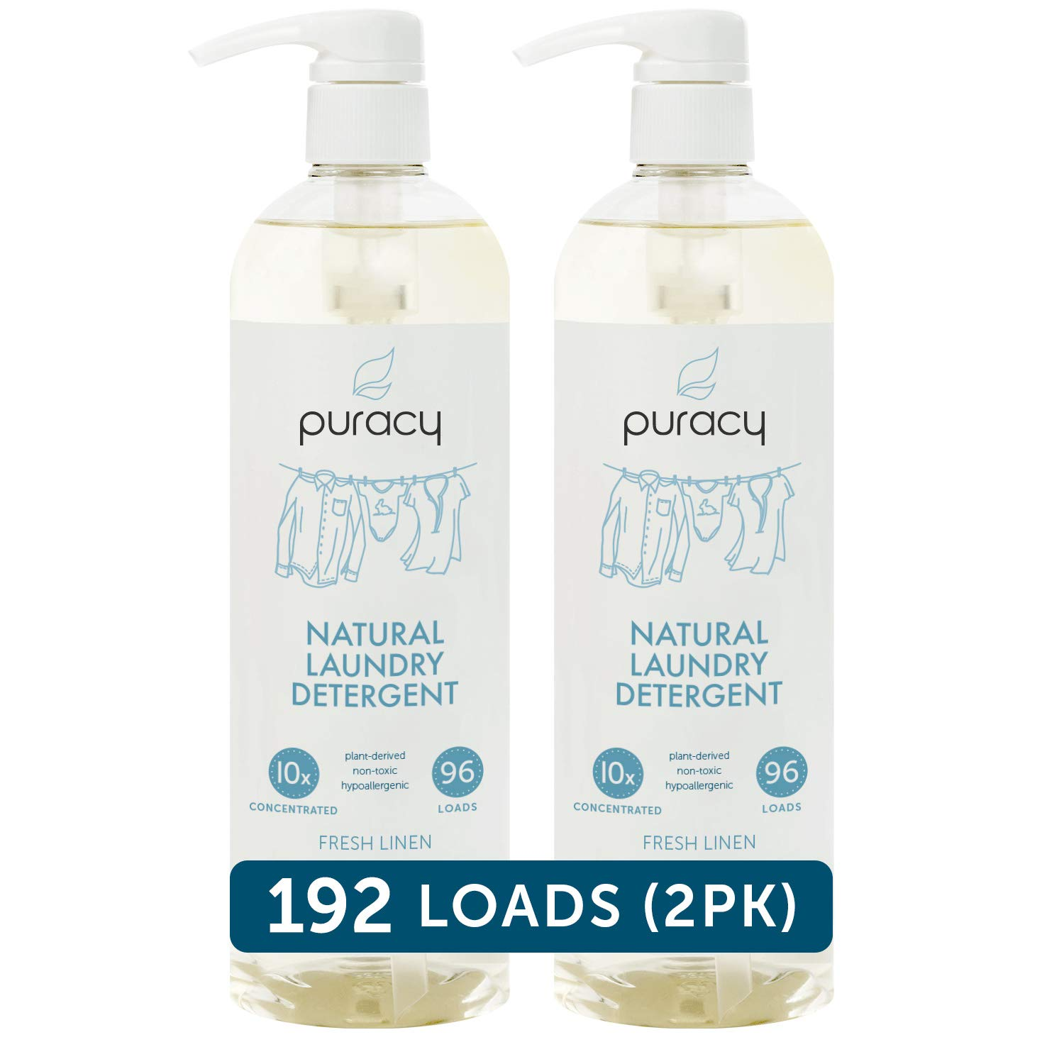 Puracy Natural Liquid Laundry Detergent, Hypoallergenic, Effective, Fresh Linen, 24 Ounce (2-Pack) by Puracy