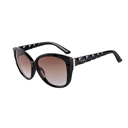 537612f727 YOLEZI Cateye Oversized Designer Vintage 80s Sunglasses for Women with UV  Protection (Black   Brown