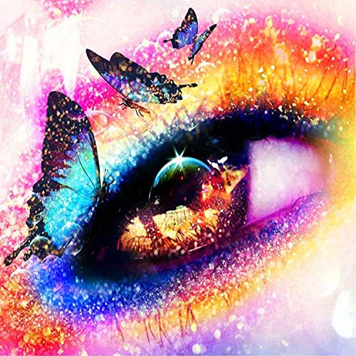 5D Diamond Painting Kits DIY Full Drill Diamond Painting by Number Kits Crystal Rhinestone Diamond Embroidery Paintings Pictures Arts Craft for Home Wall Decor (Butterfly Eye) (Butterfly Eye)