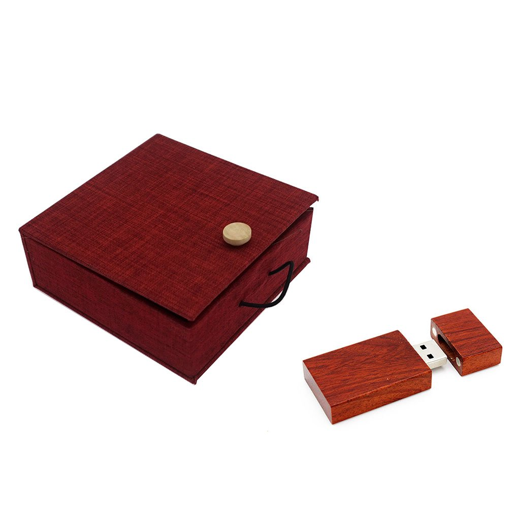 LONMAX Real Capacity Red Wooden USB 2.0 Flash Drive Birthday Business Gift Pen Drive Pendrives Memory Stick (16GB, Red Wooden+Red Linen)