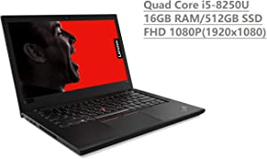 "2019 Lenovo Thinkpad T480 14"" Full HD FHD (1920x1080) Business Laptop (Intel 8th Gen Quad-Core i5-8250U, 16GB DDR4 RAM, 512GB SSD) Backlit, Thunderbolt 3 Type-C, WiFi, Windows 10 Pro, Black"